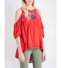 Free People Fast Times Embroidered Cold Shoulder Cotton Jersey Top