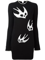 Mcq By Alexander Mcqueen Skull Swallow Knit Dress Black