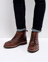 Farah East Lace Up Boots Brown