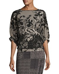 Fuzzi Dolman Sleeve Floral Lace Print Top Black