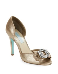 Betsey Johnson Glam Metallic Peep Toe Pumps Copper