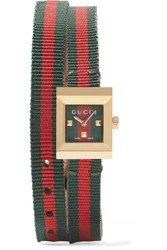 Gucci Canvas And Gold Tone Watch Red