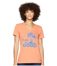Life Is Good Vintage Palms Crusher Vee T Shirt Fresh Coral T Shirt Pink