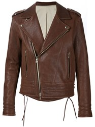Balmain Biker Jacket Brown