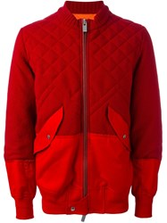 Sacai Panelled Bomber Jacket Red