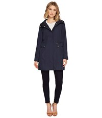 Cole Haan 34 1 2 Single Breasted Rain Jacket With Removable Hood Indigo Women's Coat Blue