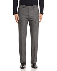 Theory Charde Large Plaid Slim Fit Trousers Charcoal
