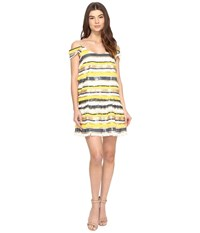 Nicole Miller Trixi Striped Sequin Fringe Party Dress Yellow Multi Women's Dress
