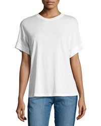 Vince Short Sleeve Cotton Silk Cocoon Tee White