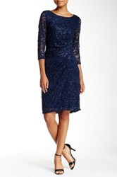Marina 3 4 Length Sleeve Side Pleat Sequin Lace Sheath Dress Blue
