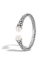 John Hardy Dot Sterling Silver Diamond Pave Kick Cuff With Cultured Freshwater Pearls White Silver