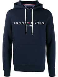 Tommy Hilfiger Embroidered Logo Hoodie Blue