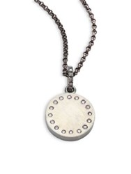 Rene Escobar Medium Diamond And Sterling Silver Round Pendant Necklace