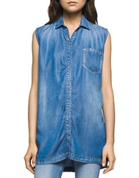 Ck Calvin Klein Chambray Sleeveless Denim Shirt Blue