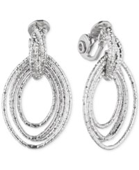 Anne Klein Multi Hoop Navette Clip On Drop Earrings Silver