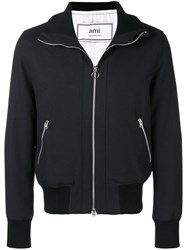 Ami Alexandre Mattiussi Funnel Neck Zipped Jacket Black