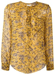 Etoile Isabel Marant 'Boden' Chiffon Blouse Yellow Orange