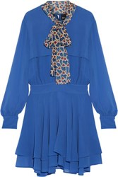 Just Cavalli Pussy Bow Chiffon Mini Dress Bright Blue
