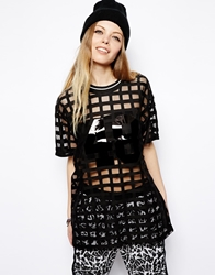 Asos Tunic In Grid Mesh With Plastisol Number Black