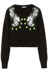 Emma Cook Appliqued Angora Blend Sweater Black