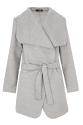 Quiz Felt Waterfall Belt Jacket Grey
