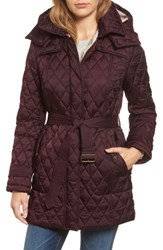 London Fog Women's Quilted Coat With Faux Shearling Lining Burgundy