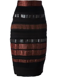 Gianfranco Ferre Vintage Paneled Pencil Skirt Black