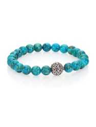 John Hardy Classic Chain Turquoise And Sterling Silver Beaded Stretch Bracelet