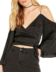 Bardot Solid Cold Shoulder Top Black