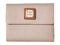 Dooney And Bourke Pebble Leather New Slgs Small Flap Credit Card Wallet Oyster Tan Trim Wallet Handbags