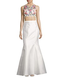 Xscape Evenings Two Piece Floral Beaded Crop Top And Mermaid Skirt Set White Multi