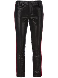 Haider Ackermann Skinny Striped Leather Trousers Black