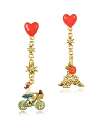 Les Nereides Paris Mon Amour Heart Drop Earrings Red