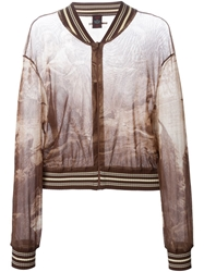Jean Paul Gaultier Vintage Sheer Printed Bomber Jacket Brown