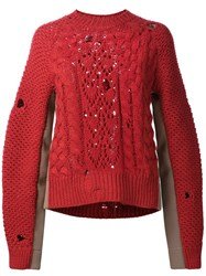 Maison Martin Margiela Mm6 Cable Knit Sweater Red