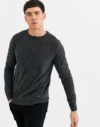Threadbare Cable Knit Jumper In Grey