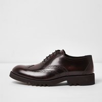 River Island Mens Dark Red Patent Leather Chunky Brogues