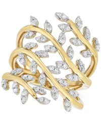 Macy's Diamond Leaf Ring 1 2 Ct. T.W. In 14K Gold Plated Sterling Silver