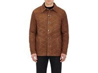 Isaia Men's Quilted Suede Jacket Tan