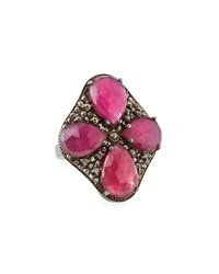 Bavna Composite Ruby And Champagne Diamond Cocktail Ring Women's