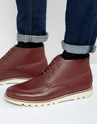 Kickers Kymbo Mocc Leather Lace Up Boots Red