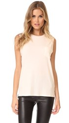 David Lerner Crew Neck Rolled Muscle Tee Pearl