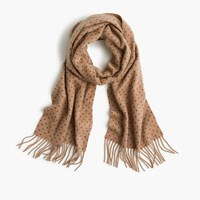 J.Crew Cashmere Scarf In Dot Camel Navy Dot
