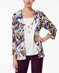 Alfred Dunner Printed Layered Look Necklace Top Multi