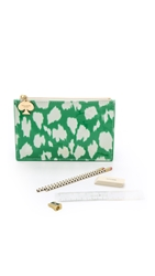 Kate Spade Painterly Cheetah Ikat Pencil Pouch Painterly Cheetah Ikat Green