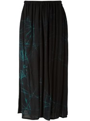 Y's Abstract Print Gathered Skirt Women Viscose 1 Black