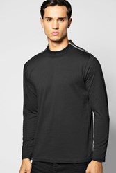 Boohoo Sleeve Turtle Neck T Shirt With Zip Neck Black