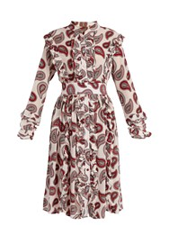Dodo Bar Or Jagger Paisley Print Silk Dress White Print