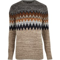 River Island Mens Brown Fairisle Knit Jumper