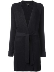 Emporio Armani Belted Knit Coat Blue